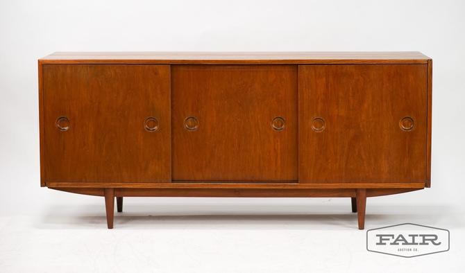 Vintage Modernist Long Solid Teak Credenza