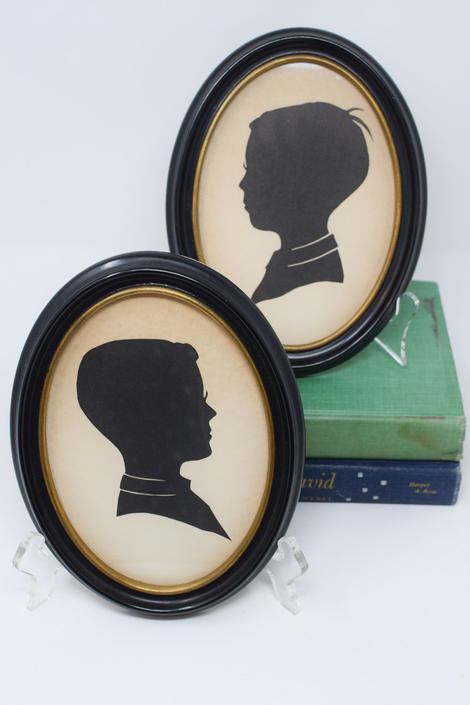 Pair of Vintage Silhouettes of Boys by CapitolVintageCharm