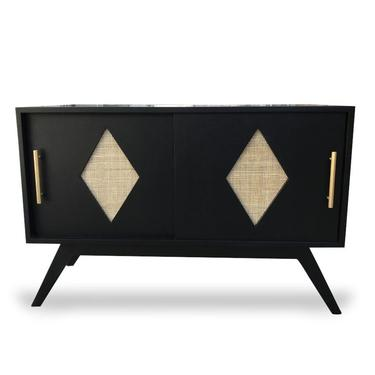 "CUSTOM ORDER Mid Century Modern 42"" Cane Diamonds Black Media Cabinet/Record Album Storage/Bar (Los Angeles) by HouseCandyLA"