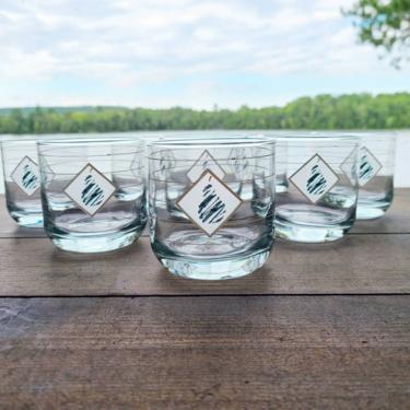 1988 Styalized Pear Anchor Hocking Set of 8 Glasses, Lowball Glassware, Fruit Glasses, Whiskey Glasses, 80s Style, 80s Barware Drinkware Set by BellsAndWhistlesEtc