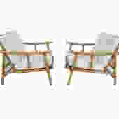 Ficks Reed Lounge Chairs Pair Bamboo and Rattan designed by John Wisner Mid Century Modern by HearthsideHome