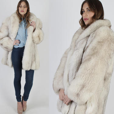 Oversized White Fox Fur Coat / 80s Plush Large Arctic Fox Jacket / Unisex Apres Ski Real Fur Pockets Jacket / Professionally Re-Lined by americanarchive