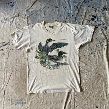 Vintage 1988 Wiscinsin Novelty Waterfowl Duck Graphic Tee Shirt by NorthGroveAntiques