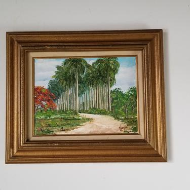 1980s Vintage Tropical Cuba Landscape Oil on Canvas Painting by Norma M. Carlson, Framed by MIAMIVINTAGEDECOR