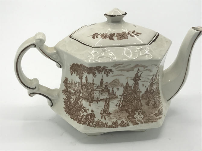 Vintage 1940s Royal Crownford Safe Harbour Ironstone Teapot, Staffordshire, England Brown Transferware by JoAnntiques