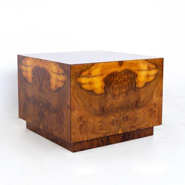 Milo Baughman Style Mid Century Burlwood Cube Coffee Table - mcm by ModernHill