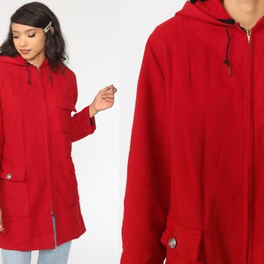 Red Wool Coat 80s HOODED Jacket Zip Up Hood Jacket Vintage 1980s Hoodie Bohemian Large xl l by ShopExile