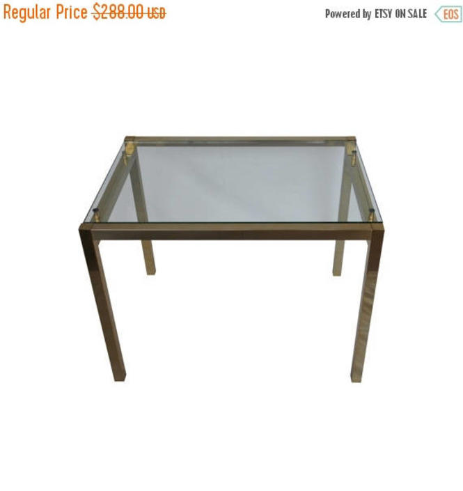 20% OFF Milo Baughman Style Brass and Glass Cocktail Table