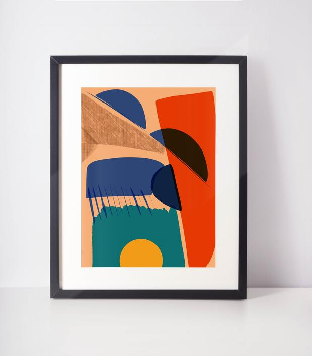 The Desert   Art Print   Abstract art  Abstract Minimal Home Decor  Abstract cubicle decor, Vivid color happy art- Geometric -Cut out shapes by VioletredStudio