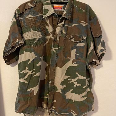3) vintage camo hunting shirt short sleeve button down with duck embroidery embroidered by GRACEandCATS