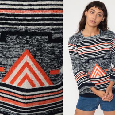 Bohemian Sweater 70s BELL SLEEVE Sweater Striped Space Dye Black Boho Geometric Pullover 80s Vintage Knit Hippie Festival Orange Small by ShopExile