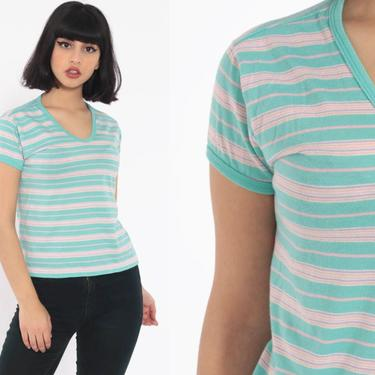 Striped Baby Tee Shirt -- Turquoise Shirt 80s Retro T Shirt Ringer Tee Baby Tee 80s Tshirt V Neck Cap Sleeve Top Vintage Small by ShopExile