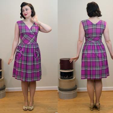 SALE PRICE 1940s Plaid Dress - Pink and Purple Surplice Top With White Loop Trim - Two Real Pockets! by DomesticatedPinup