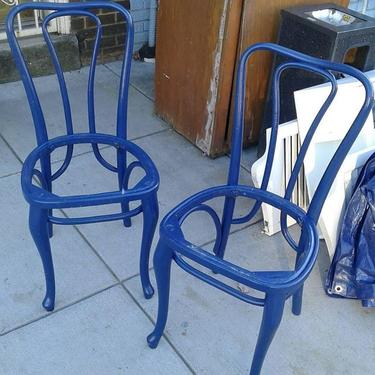 Pair of blue painted bentwood cafe chairs. Bentley's Vintage