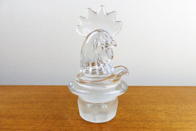 Vintage Heisey Rooster | Glass Stopper and Decanted Pour Insert with Strainer | BEAUTIFUL by TheFeatheredCurator
