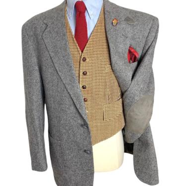 Vintage Stafford DONEGAL TWEED Wool Blazer ~ 46 R ~ jacket / sport coat ~ Elbow Patches ~ Chinstrap ~ Hunting ~ Preppy / Ivy Style / Trad by SparrowsAndWolves