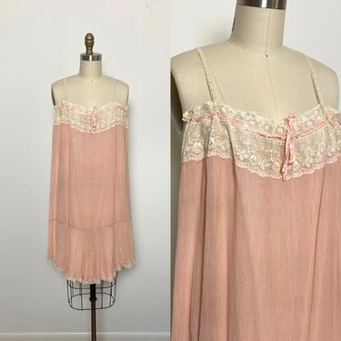 1920s Step In 20s Teddy Lingerie Romper Chemise Negligee Peach Silk and Lace by littlestarsvintage
