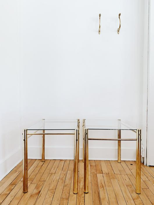 GOLD METAL <BR> SIDE TABLES