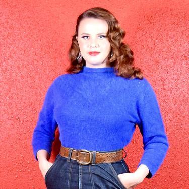 1950s Angora Royal Blue Sweater Luisa Spagnoli by THEGIRLCANTHELPITUSA