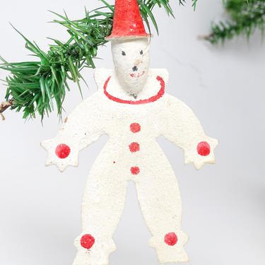 Vintage  Snowman Clown Christmas Ornament with Spun Cotton Head and Red Hat, Retro Tree Decor by exploremag