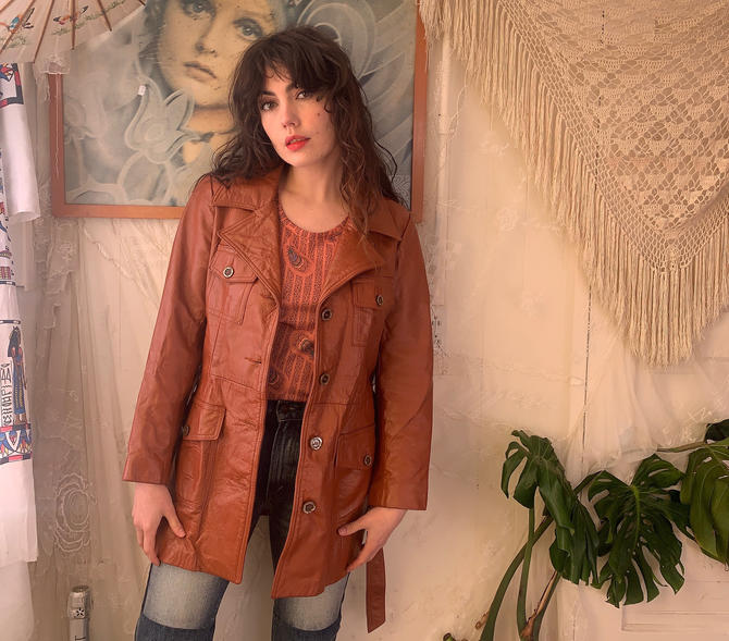 70's LEATHER JACKET - brown - belt - pockets - medium/large by GlamItToHell