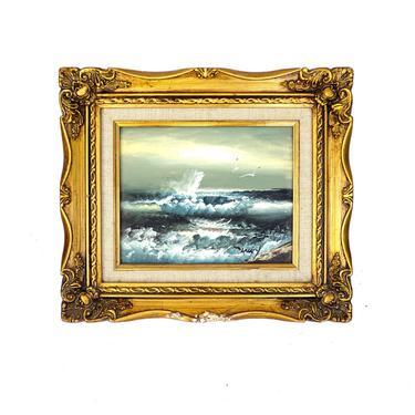 Signed Ocean Artwork | Original Seascape Framed Oil on Wood Painting | Coastal Landscape Artwork | Gold Ornate Frame by ELECTRICmarigold