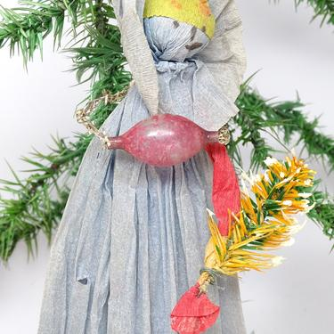 Antique Christmas Doll Ornament, Crepe Paper with Hand Painted Face, Feather Tree, Tinsel with Glass Ornament by exploremag