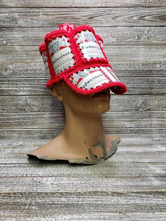 Vintage Budweiser Beer Can Hat, 1970s Vintage Bud Hat, King of Beers, Anheuser Busch, Crochet Beer Hat, Baseball Beer Hat, Vintage Clothing by AGoGoVintage