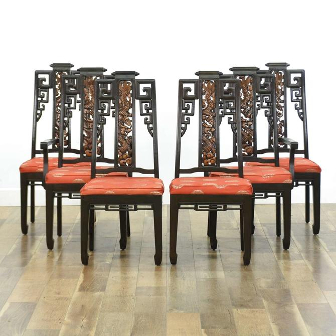 Set 6 Genghis Khan Carved Asian Design Dining Chairs