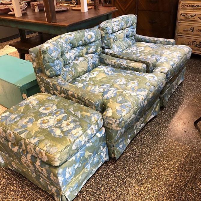 Blue Floral Chairs $65 each! Ottoman $45!