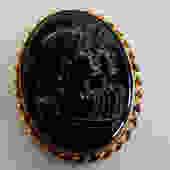 Double Head Roman Black Glass Cameo Brooch by LegendaryBeast