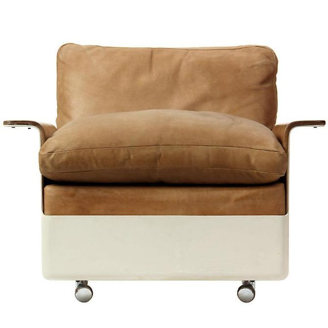 Fiberglass and Leather Lounge Chair
