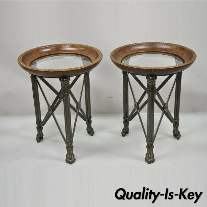 Regency Iron Brown Leather Round Glass Top End Tables attr Maitland Smith - Pair