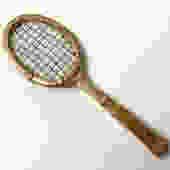 Vintage Brass Tennis Racquet Paperweight