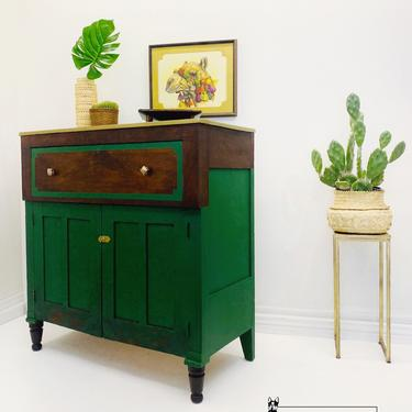 Faux Malachite Antique Chest of Drawers. Vintage Emperors Dresser. Green Two Tone Bedroom Chest. Dining Room Small Buffet Sideboard Cabinet by withlovefurniture10