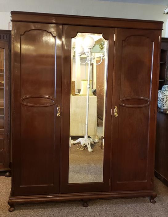 Item #S18 Triple Door Mahogany Armoire w/ Fitted Interior c.1920