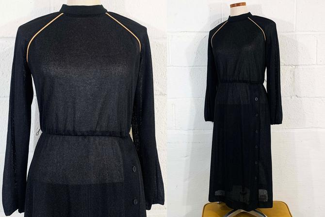Vintage Sheer Black Dress Tan Piping 1970s 70s Long Sleeve Boho Festival Party Cocktail Goth Vamp Fit & Flare Strait Lane Medium by CheckEngineVintage