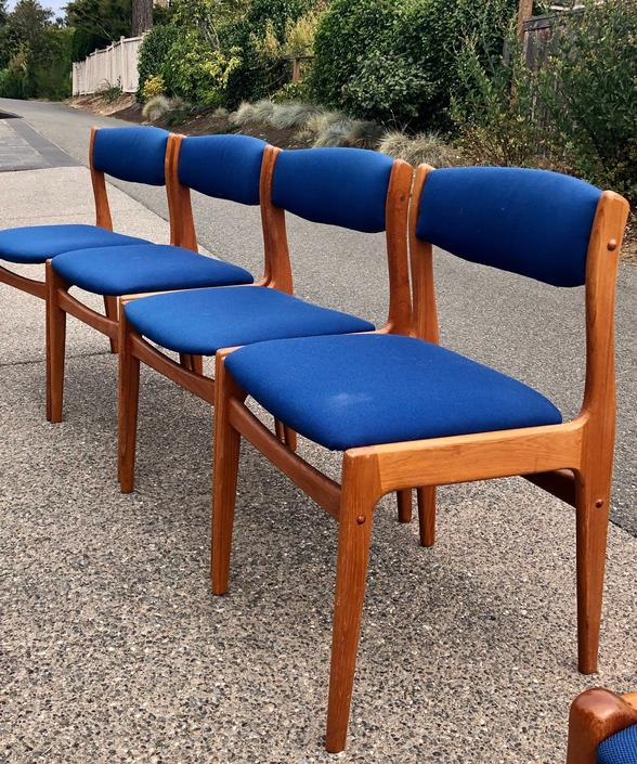 Free Shipping Within US - Moller Teak Danish Dining Room Chairs Set of 4 by BigWhaleConsignment