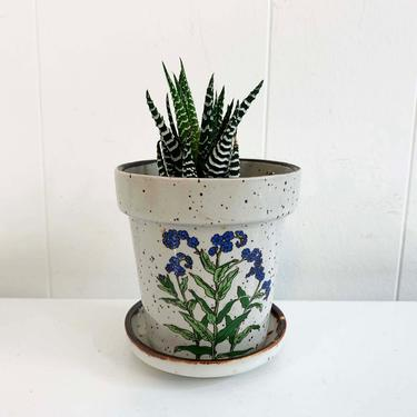 Vintage Gray Speckled Planter Blue Flowers Floral Drainage Hole Detached Saucer Mod Mid-Century Pottery Pot 1970s 70s Indoor Plant Pot by CheckEngineVintage