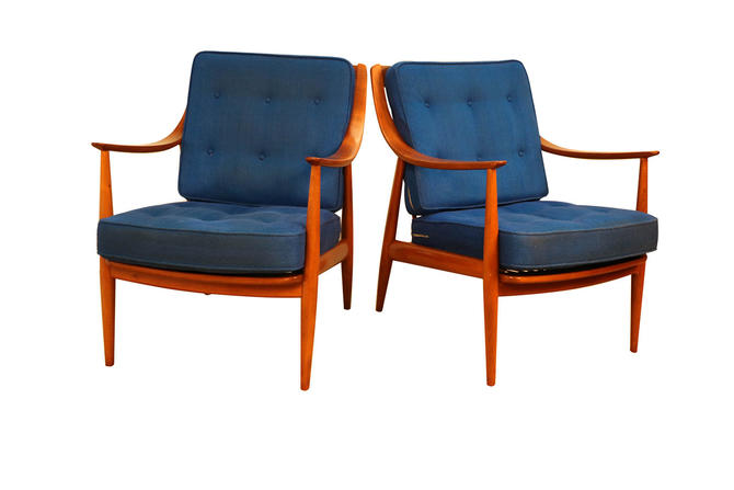 Pair Danish Mid Century Peter Hvidt and Orla Molgaard Nielsen For France and Daverkosen Lounge Chairs by Marykaysfurniture