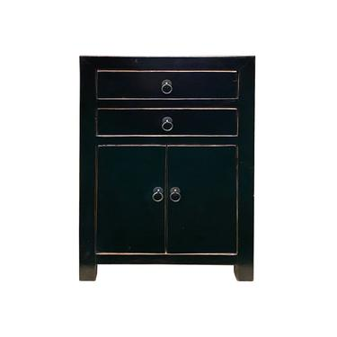 Distressed Semi Gloss Black Lacquer Two Drawers End Table Nightstand cs6190E by GoldenLotusAntiques