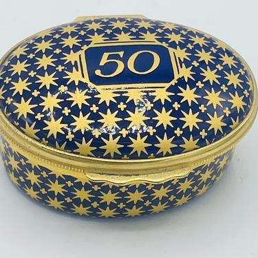 Vintage Blue and Gold 50th Anniversary Box HALCYON DAYS Enamels- Nice Condition by JoAnntiques
