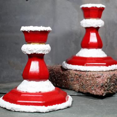 Santa Candlesticks for your Holiday Table - Hand-Painted Wooden Candlesticks - Christmas Candle Holders - Holiday Decor  | FREE SHIPPING by Bixley