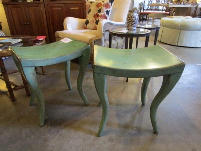 PAIR OF RUSTIC PAINTED STOOLS PRICED SEPARATELY