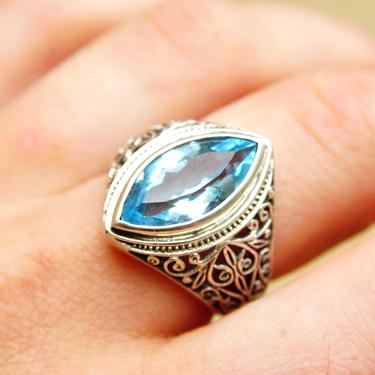 Vintage Ornate Sterling Silver Light Blue Gemstone Ring, Marquise-Cut, Intricate Wire Design, Graduated Silver Band, Size 9 1/4 US by shopGoodsVintage