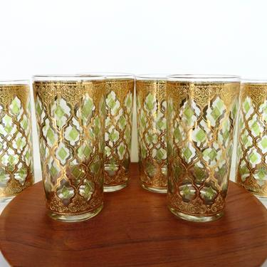 Set of 6 Culver Valencia Highball Glasses, Vintage Culver Green And Gold Cocktail Barware, 22k Hollywood Regency by HerVintageCrush