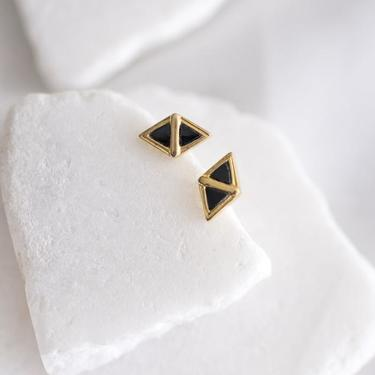 Gold Vermeil and Black Onyx Scout Earrings