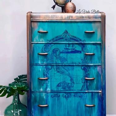 Mermaid Dresser, Art Deco, Waterfall Dresser, Antique, Vintage, Hand Painted, Mermaid. by LaVidaBellaDesign