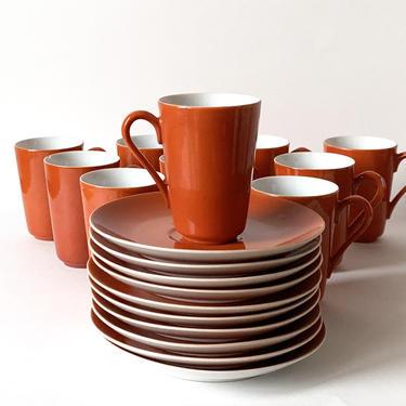 20-Piece Set of Mid Century Kenji Fujita Freeman Lederman Persimmon Coffee Cups by SabineVintageHome