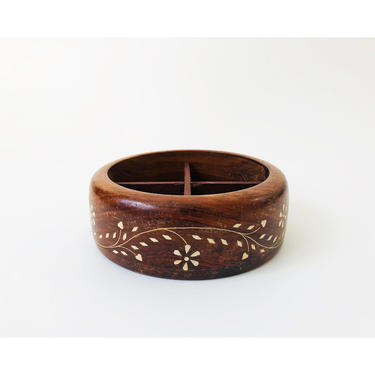 Vintage Divided Wood Bowl with Stone Inlay by SergeantSailor